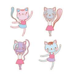 set cute female cat animal vector image