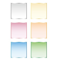 Set frames silver gold glass isolated ob vector