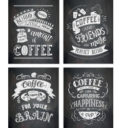 Set of coffee quotes on the chalkboard vector
