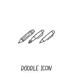 Set of Doodle Writing Utensils Writing office vector