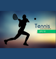 silhouette of a tennis player vector image