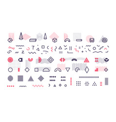 simple geometric lines memphis style shapes vector image