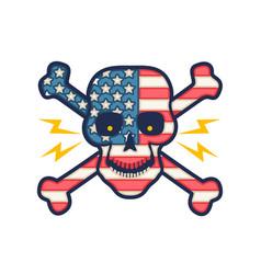 Skull with flag usa vector