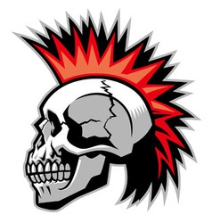 Skull with mohawk hairstyle vector