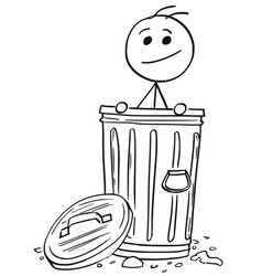 smiling man poking out of the dustbin garbage can vector image