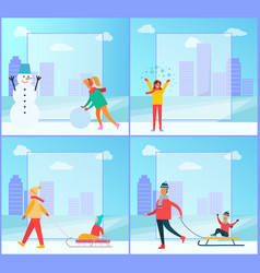 Snowman and woman wintertime vector