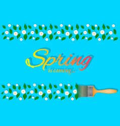 spring flower leaves brush vector image