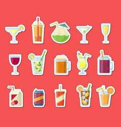 stickers set with alcoholic drinks in vector image