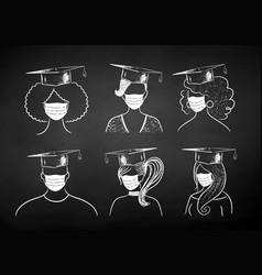 Students wearing face masks vector