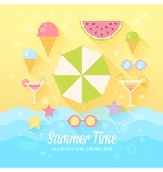 Summer flat card vector image