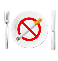 The sign no smoking on a plate with fork and knife vector