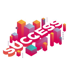 three dimensional word success with abstract vector image