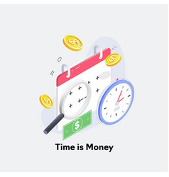Time is money concept clock and coin long term vector