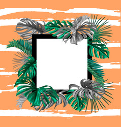 tropical exotic leaves summer banner vector image