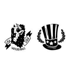 usa logo badges set monochrome american national vector image