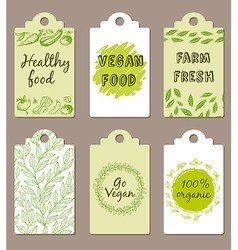Vegetarian food badges vector image