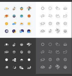 Web icons set - space sun and moon collection of vector