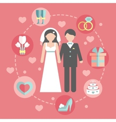 Wedding infographic set with Cartoon Bride and vector image
