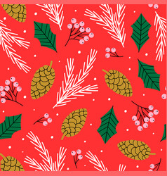 winter seamless pattern with spruce branch vector image