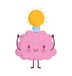 world mental health day cartoon brain light bulb vector image