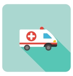 Ambulance Car Flat Rounded Square Icon with Long vector image
