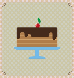 Candy card with a big chocolate cream cake a red c vector image