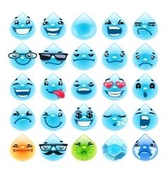 Cartoon Water Drops Emoticons vector image
