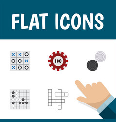 flat icon play set of gomoku chequer guess and vector image vector image