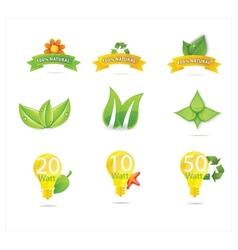 green eco leafs vector image vector image