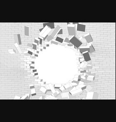 Hole in white brick wall vector