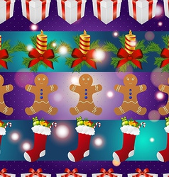 New year pattern with gingerbread man gift vector image