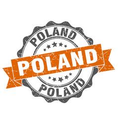 poland round ribbon seal vector image vector image