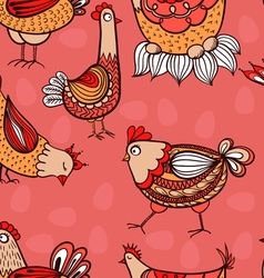 Seamless pattern with hand-drawn chickens and eggs vector image