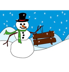 Snowman with wood sign or placard vector image vector image