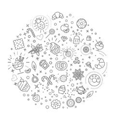 sweet food concept line flat design vector image vector image