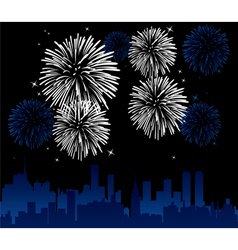 vector fireworks over a city vector image
