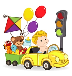 baby boy by car with toys vector image vector image