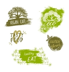 Retro style set of bio organic gluten free eco vector image vector image