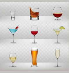 set of glasses for alcohol vector image vector image