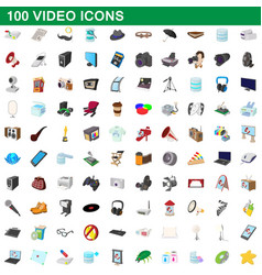 100 video icons set cartoon style vector image vector image