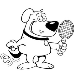 Cartoon dog playing tennis vector image vector image