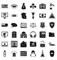 crime icons set simple style vector image