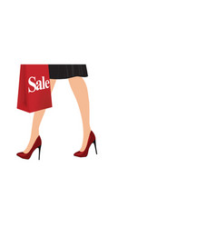 elegant woman legs with red high heels vector image vector image