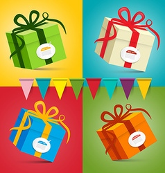 Gift Boxes - Present Box Set on Colorful Retro vector image vector image