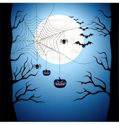 Happy Halloween poster scary on blue background vector image vector image