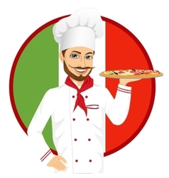 italian pizza chef with funny mustache vector image