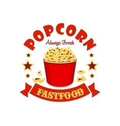 Popcorn basket fast food menu sticker emblem vector image vector image
