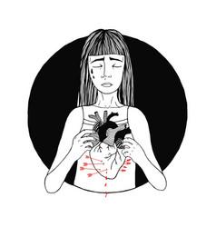 sad and suffering girl loss of love women broken vector image