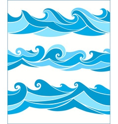 set vektor seamless waves vector image
