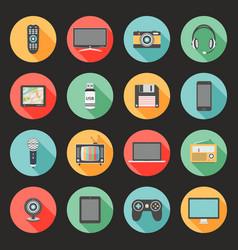 technology flat design icons set vector image